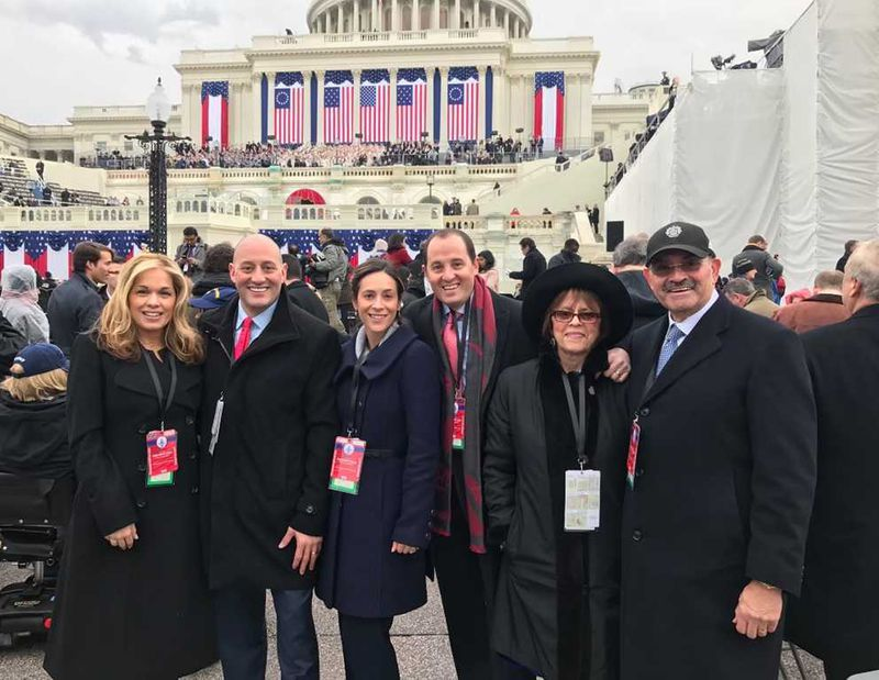 From left, Jennifer, Barry, Erica, Jack, Hilary and Allen Weisselberg are pictured at the inauguration of President Donald Trump in 2017.