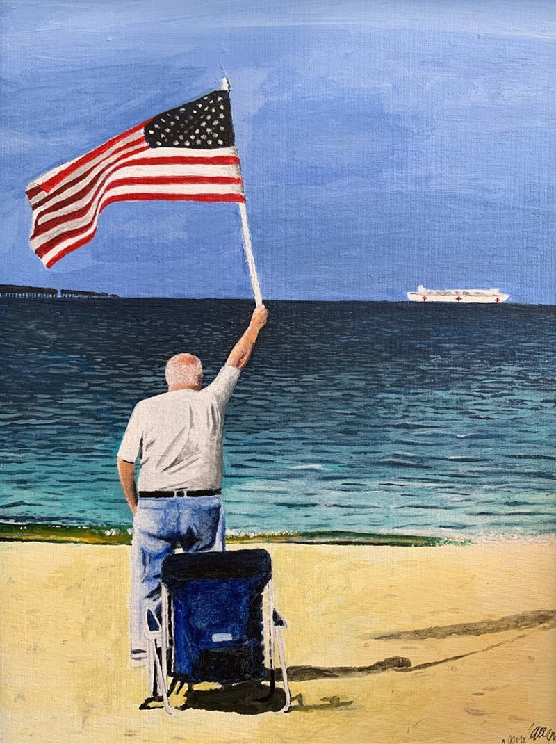 Hope, by Alexander Allen. Man on beach with U.S. Naval Ship Comfort in the distance