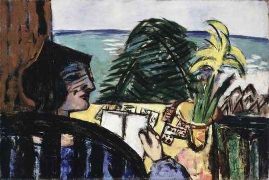 Max Beckman, Woman in Chair Reading at Beach, 1939