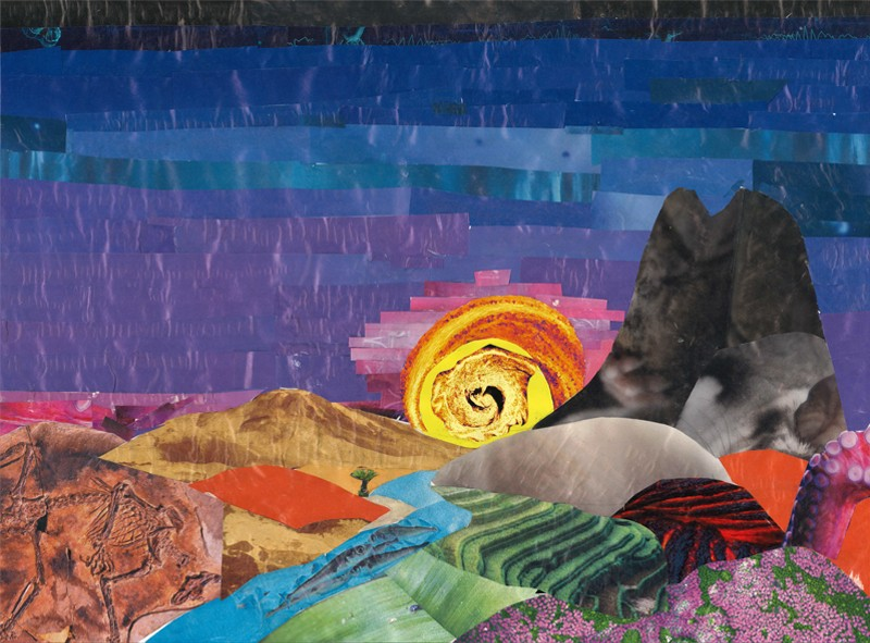 Naturarte by Angela Araujo, Sunsuet collage made from cuts from Nature covers