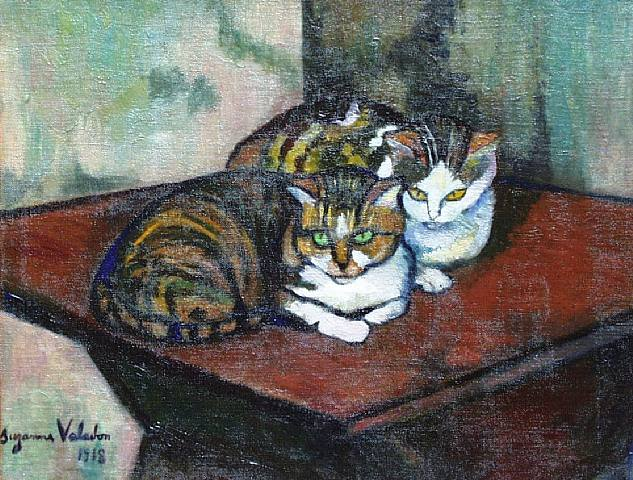 two-cats-1918, by Suzanne Valadon