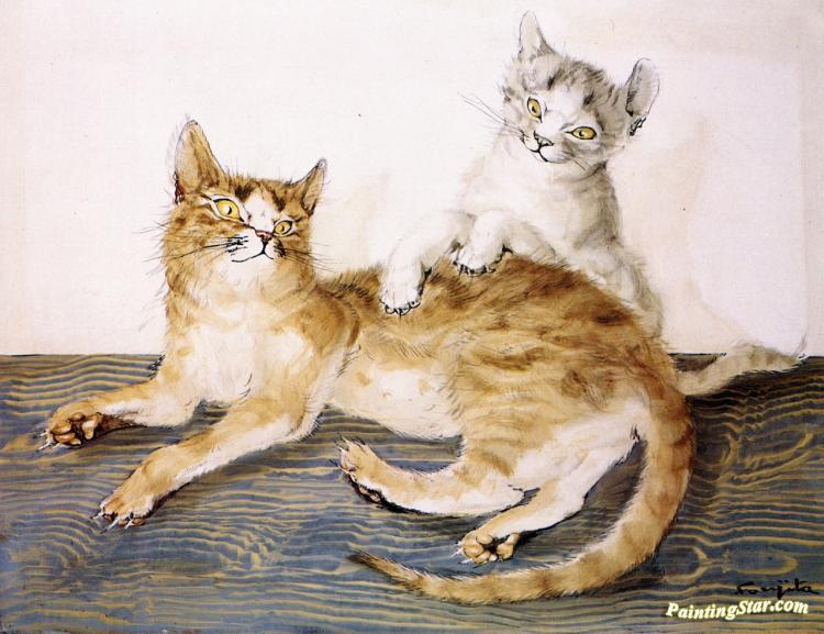 Two Cats Playing by Tsuguharu Foujita
