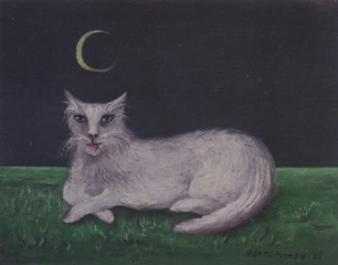 White-Cat-with-Crescent-Moon-Gertrude-Abercrombie, 1909-1977
