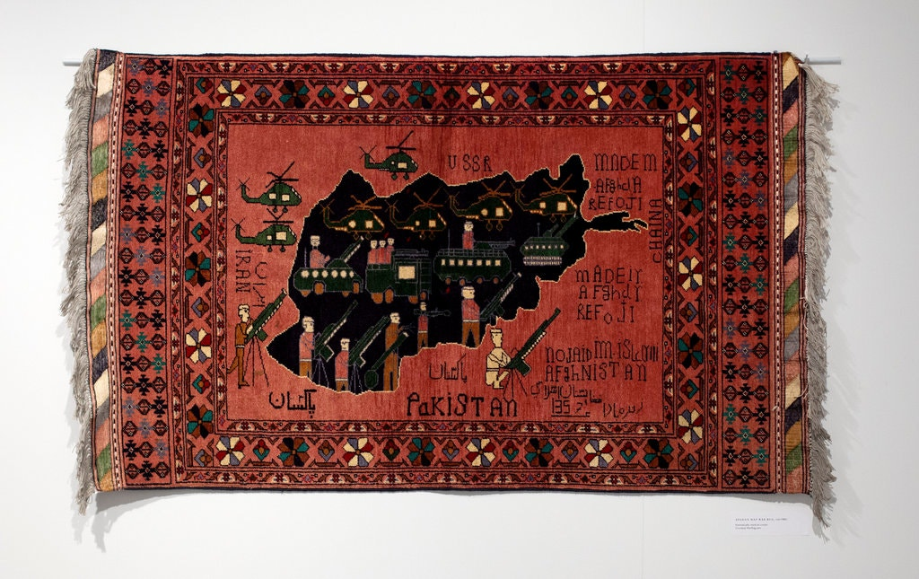 """An Afghan """"war rug"""" at the College of New Jersey Art Gallery"""