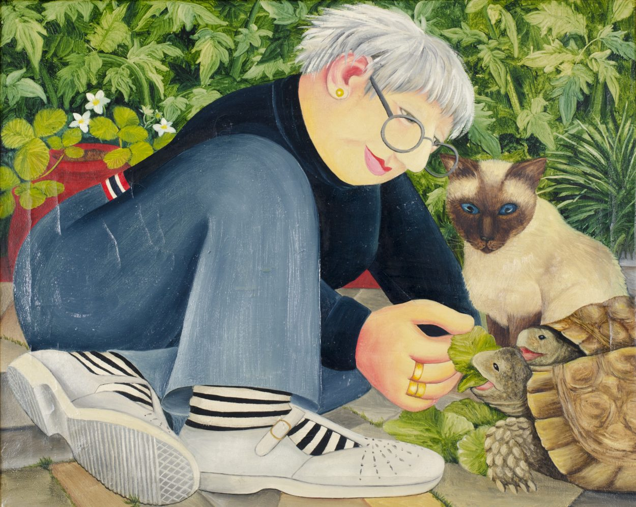 Beryl-Cook-Feeding-the-Tortoise-with-Siamese-Cat-Looking-On-1250x996