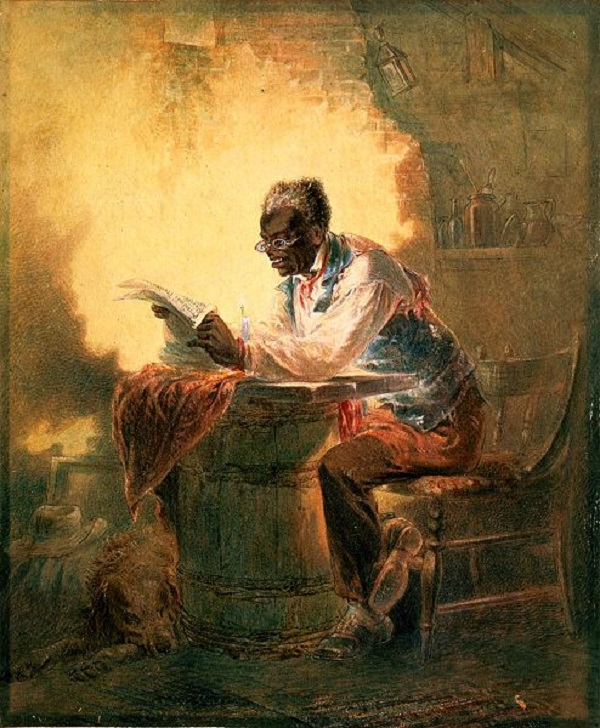 Black-Man-Reading-Newspaper-by-Candlelight, Henry Louis Stevens
