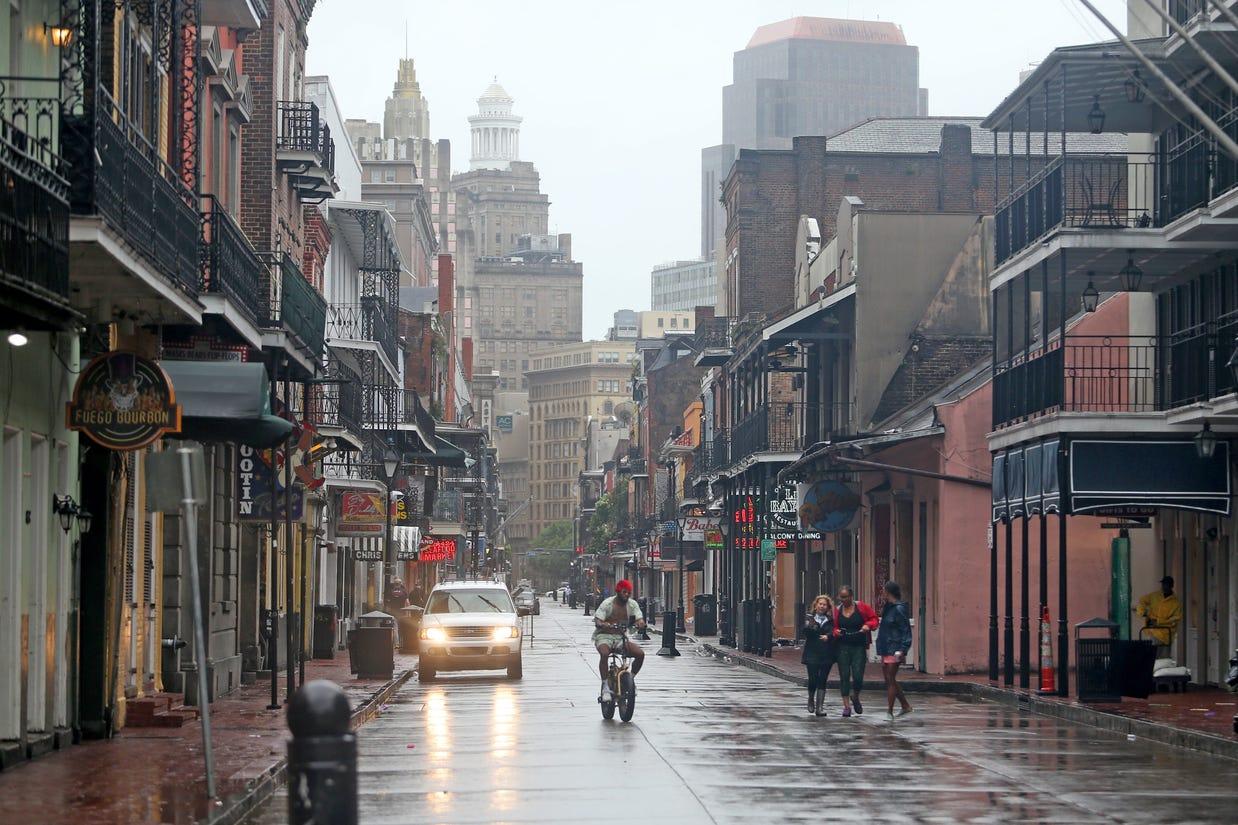 Bourbon Street as Ida began to move in