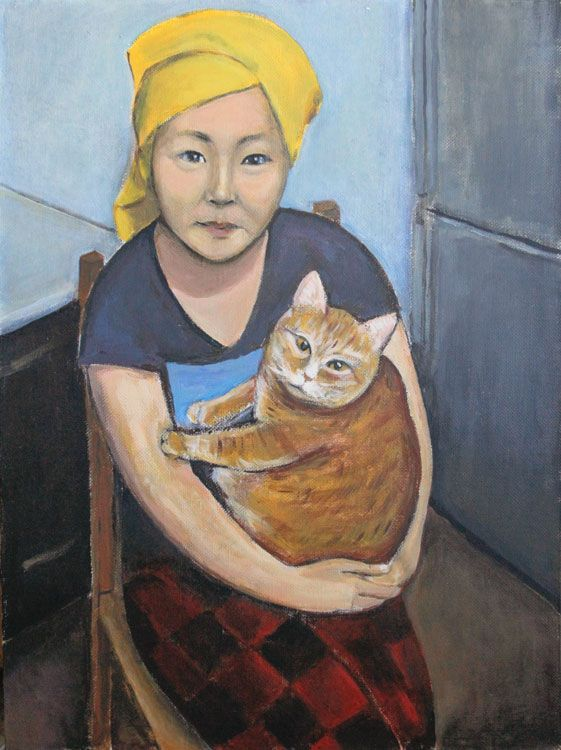 Erzhena with cat, by Indira Baldano