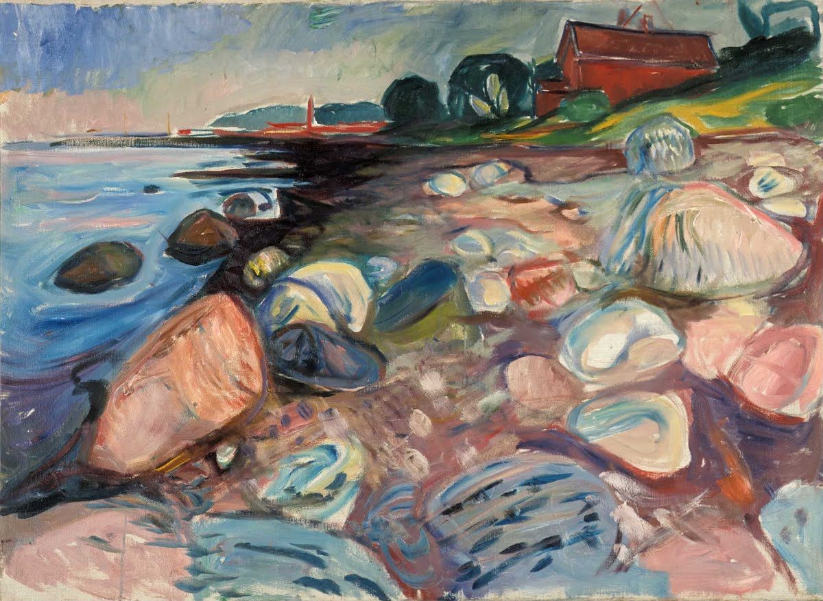 Shore wiht red house, Edvard Munch