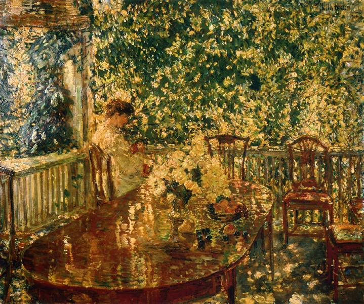 Summer Porch at Mr. and Mrs. C.E.S. Woods, 1904, Child Hassam