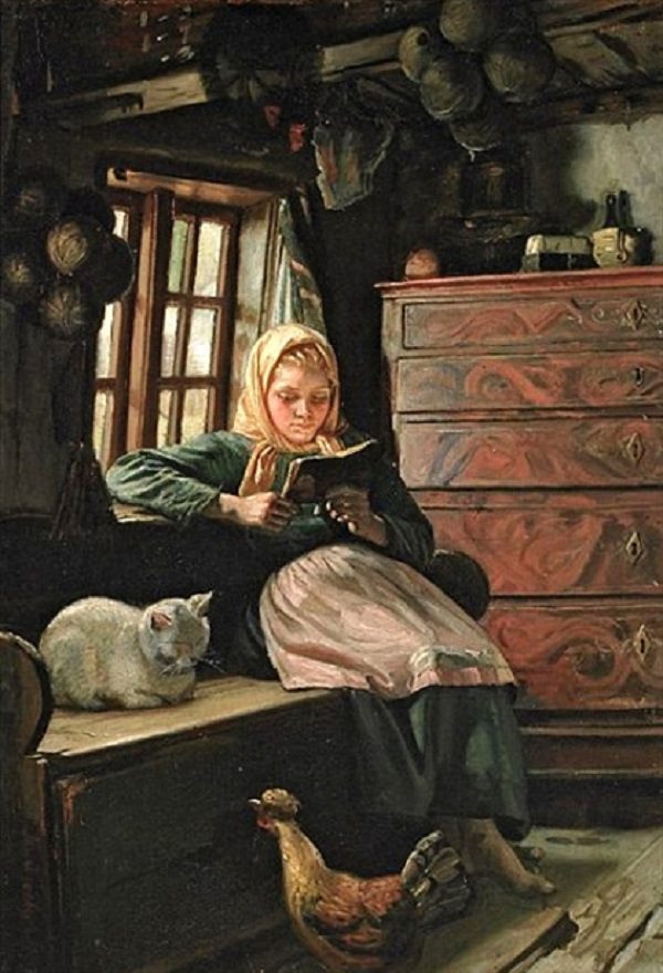 SUNDAY AFTERNOON – INTERIOR WITH A GIRL READING (1849 – 1927) MICHAEL PETER ANCHER