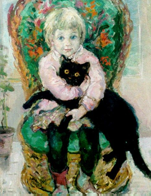 A girl with a black cat - Frida Holleman Dutch 1908-1999