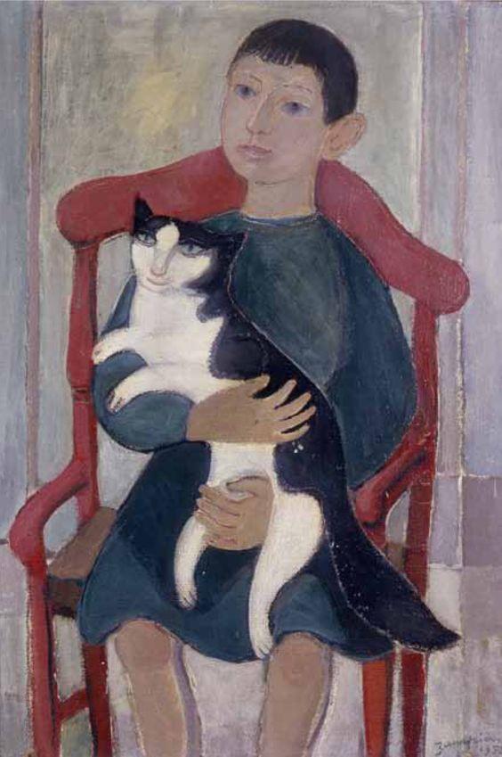 Alberto Zampieri (Italian, 1903-1992) - Il bambino e il gatto (Boy with cat), 1952