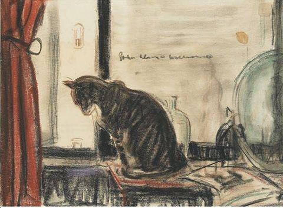 John Alonzo Williams, Cat on a table in front of a window