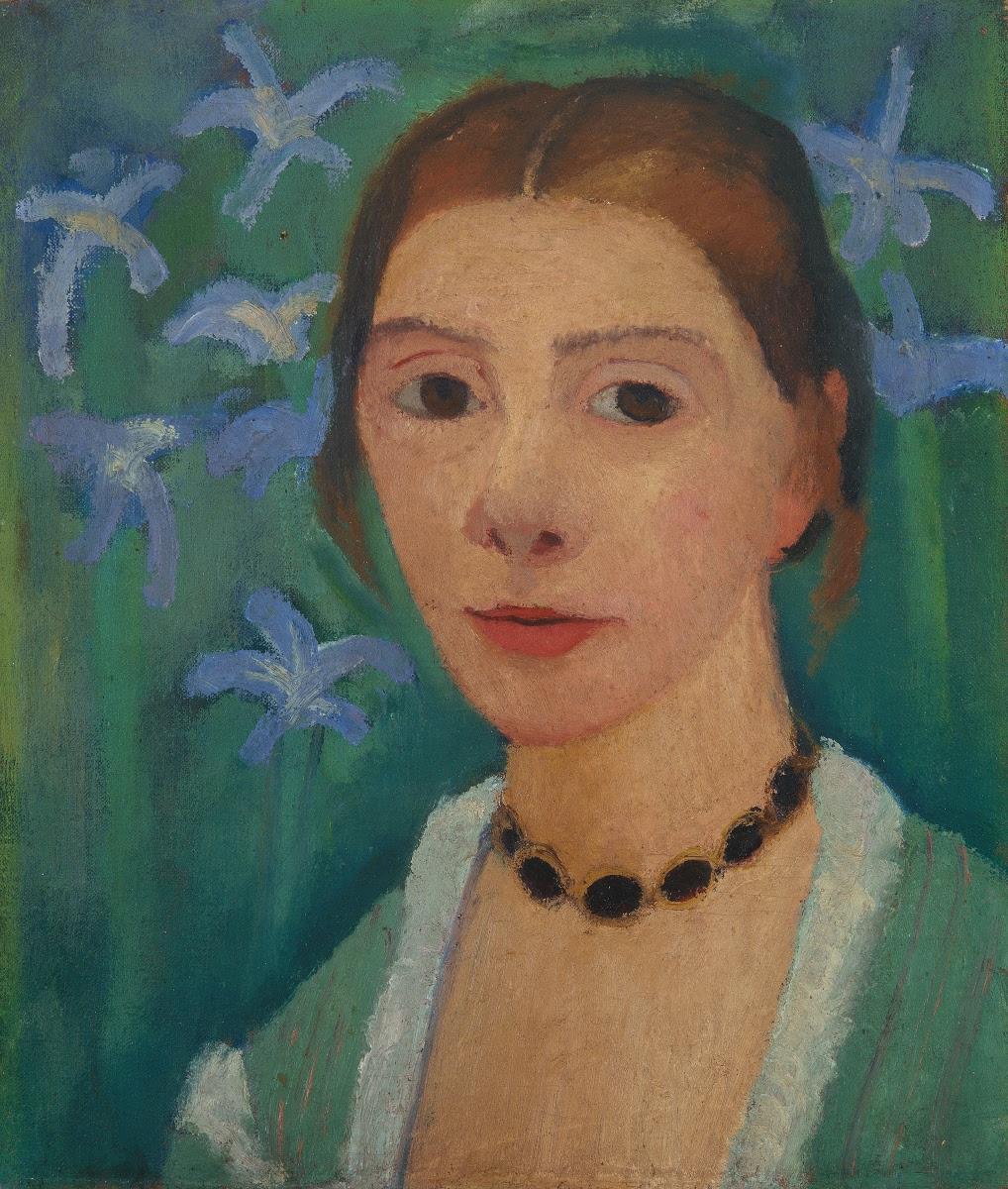 Paula Modersohn-Becker, Self Portrait Before a Green Background with Blue Iris