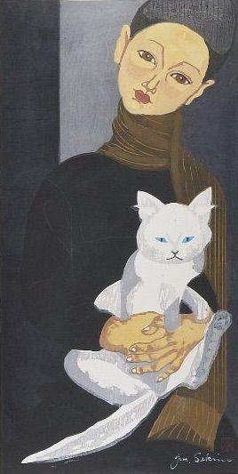 Sekino Jun'ichirô (Japanese, 1914 - 1988) Boy holding a cat