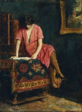 Armin Glatter, Reading Girl, Hungarian, 1861-1916