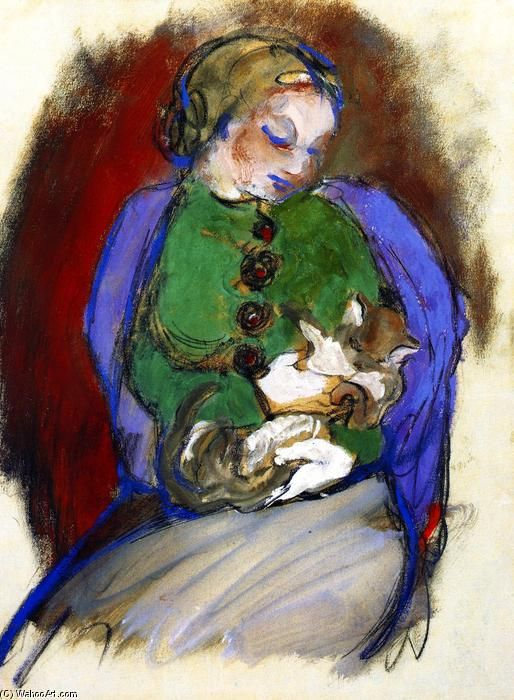 Franz Marc, Girl with Cat, 1910