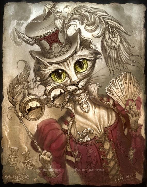 Steampunk cat lady, by Jeff Haynie