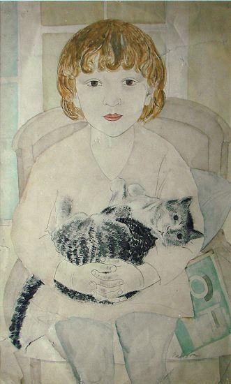 Taņa with a cat, Aleksandra Beļcova, 1928