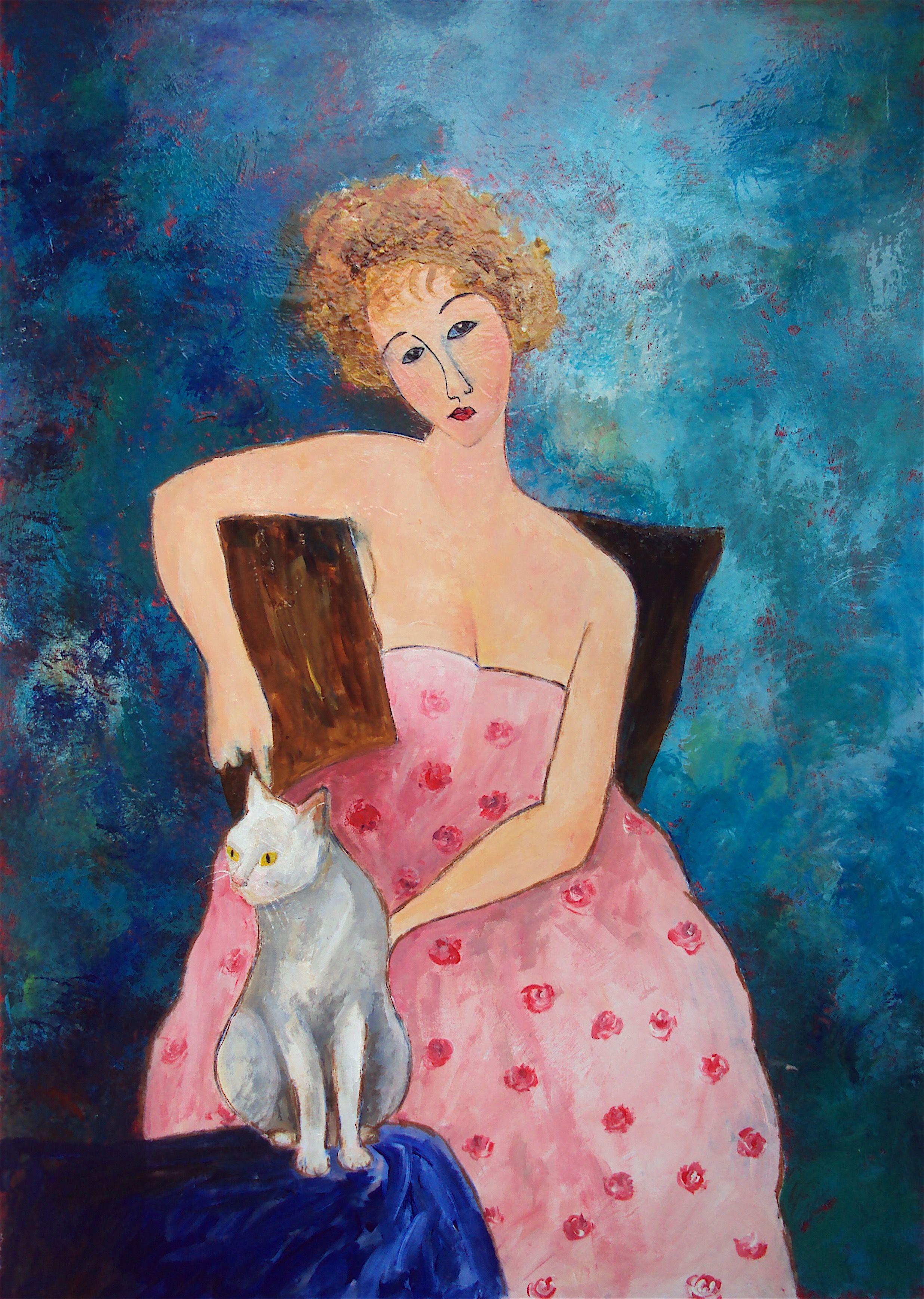 Woman in Pink Dress and Cat, Teresa Tanner